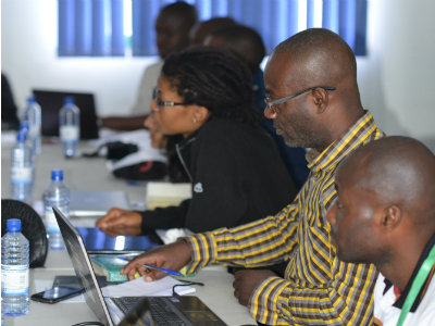 Congolese and Rwandan scientists at the Karisoke Research Center on March 2, 2015
