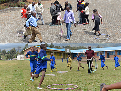 Teachers using lessons they learned at Karisoke (top) at the Bisate school in September 2015