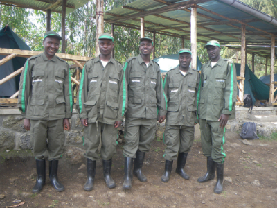 New anti-poaching team members (l to r) Eustache Hitayezu, Kevin Irakoze, Fabrice Tuyisenge, Eustache Nahimana, Jean Claude Iyamuremye