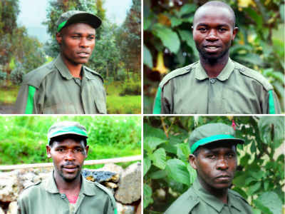 Trackers (top left, clockwise): JD, Fidele, Conseiller and Mugiraneza