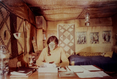 Dian Fossey in cabin