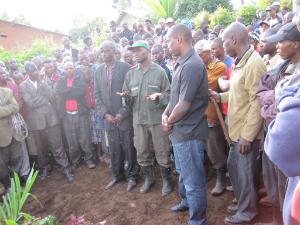 Mourners at Esdras Nsengiyumva's funeral