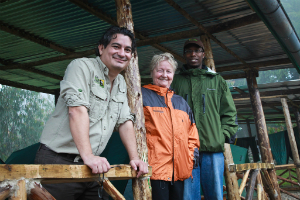 Dian Fossey Gorilla Fund  Vice President and Chief Operating Officer Juan Carlos Bonilla, Clare Richardson, Karisoke Director Felix Ndagijimana at the atni-poaching team's field station