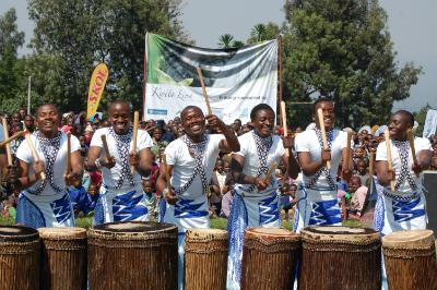Drummers help celebrate the10th annual Kwita Izina gorilla naming ceremony
