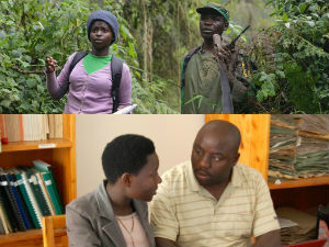 NUR students in the field and with mentor Tuyisingize