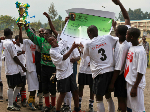 The Bisate School team celebrates their victory