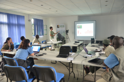 Damien Caillaud, Ph.D., giving statistics course to Africa program staff