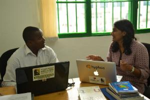 Ildephonse Munyarugerero working with Suraja Raj