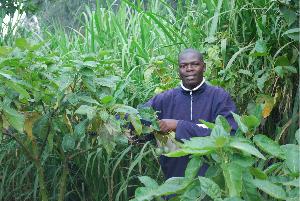 ETSB Busogo club president Patrick Habamenshi in garden