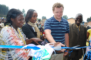 (L to R) Musanze district mayor; director general of science and technology; Andrew Sugrue, EACEF; Bisate School headmaster