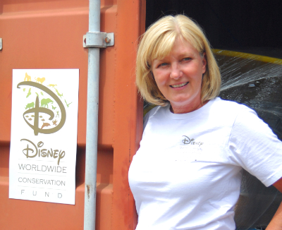 Disney's Tammie Bettinger with the container of supplies she brought to GRACE