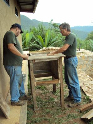 Joe Christman and Sam Berner helping to build GRACE