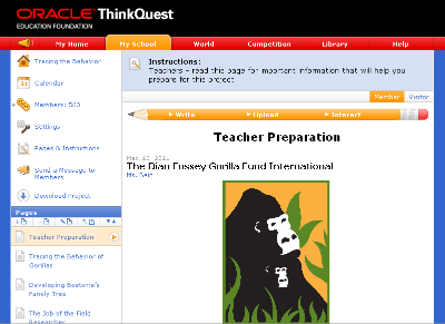 Oracle's ThinkQuest invites students and teachers to join an interactive learning project about mountain gorillas.