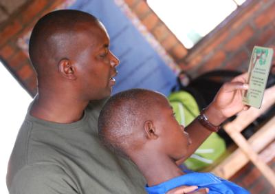 Joseph Karama teaching in a local school