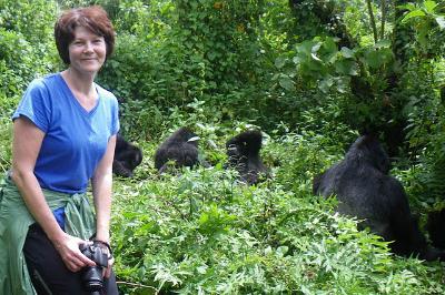 Kathleen C. Rautiainen with the Susa gorilla group