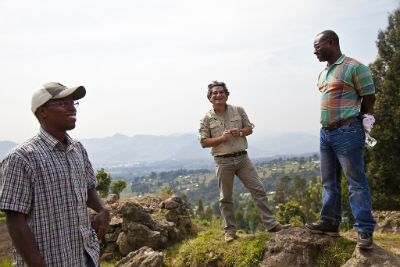 Karisoke Director Felix Ndagijimana; Fossey Fund Vice President of African Programs Juan Carlos Bonilla; and Urbain Ngobobo