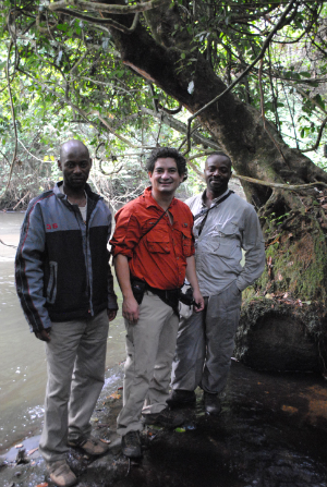 (Left to right) GIS specialist Escobar Binyinyi, Fossey Fund VIce-President Juan Carlos Bonilla and Program Manager Urbain Ngobobo