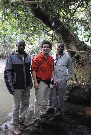 (Left to right) GIS specialist Escobar Binyinyi, Fossey Fund VIce-President Juan Carlos Bonilla and Program Manager Urbain Ngobobo