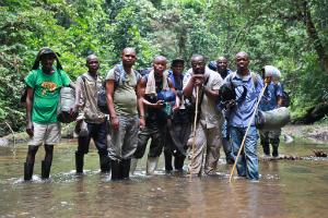 First assessment team, on trek from Kasese