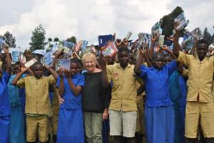 Donating school supplies to the Bisate School, 2011