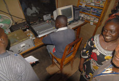 Inside radio station before it was destroyed