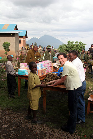 Habiyambere gets school supplies.