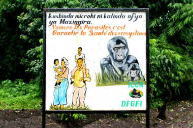 One of the billboards we have put up in local communities with our Ecosystem Health Program, to show people how to protect themselves against parasites.