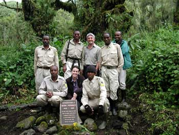 Karisoke staff at Fossey gravesite
