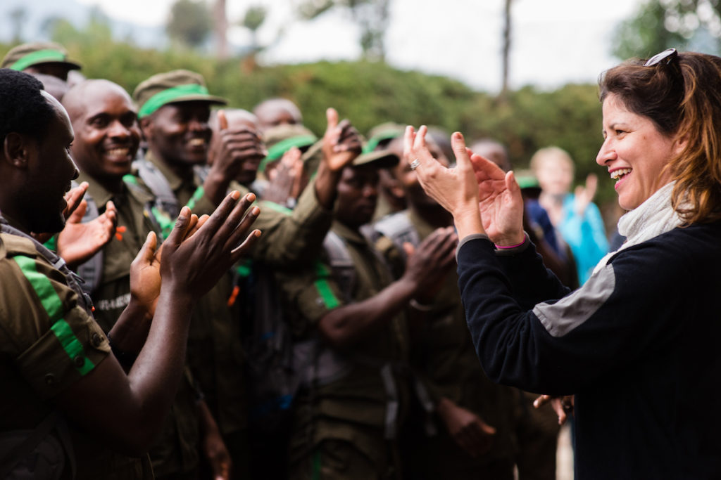 Fossey Fund President and CEO/Chief Scientist, Dr. Tara Stoinski with the Karisoke trackers