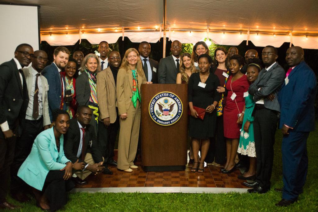 U.S. Ambassador to Rwanda Erica Barks-Ruggles (left of podium), with Fossey Fund staff at Embassy reception