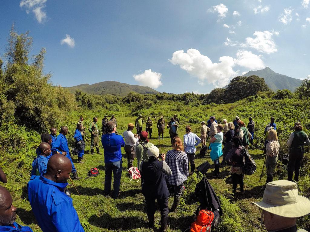 Biodiversity manager Deo Tuyisingize presents information on the golden monkeys