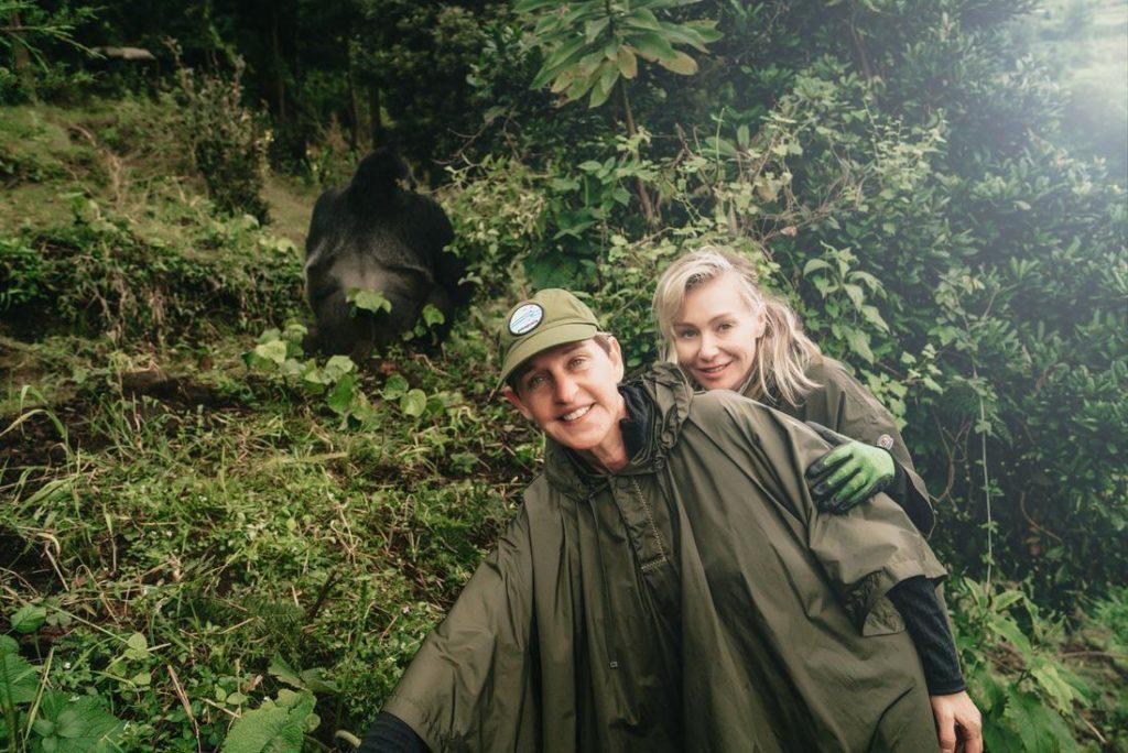 Ellen DeGeneres and Portia on gorilla trek in Rwanda
