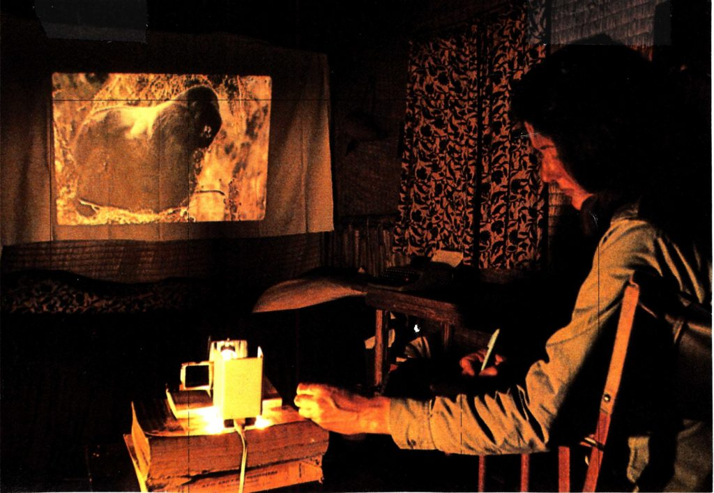 Dian Fossey looking at slides of gorillas she studied